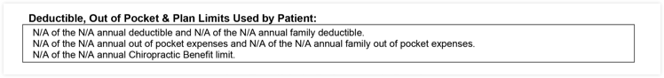 EOB section deductible, out-of-pocket