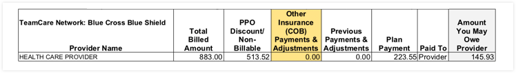 EOB section other insurance